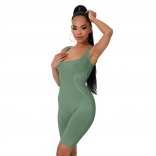 Green Sleeveless Low-Cut Bodycons Sexy Romper